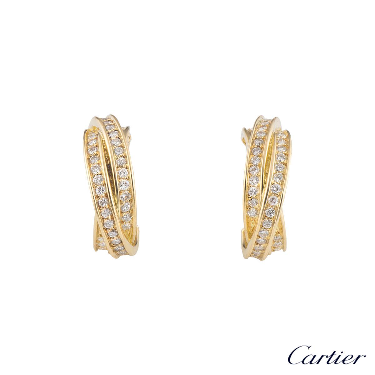 Cartier Yellow Gold Diamond Trinity Earrings
